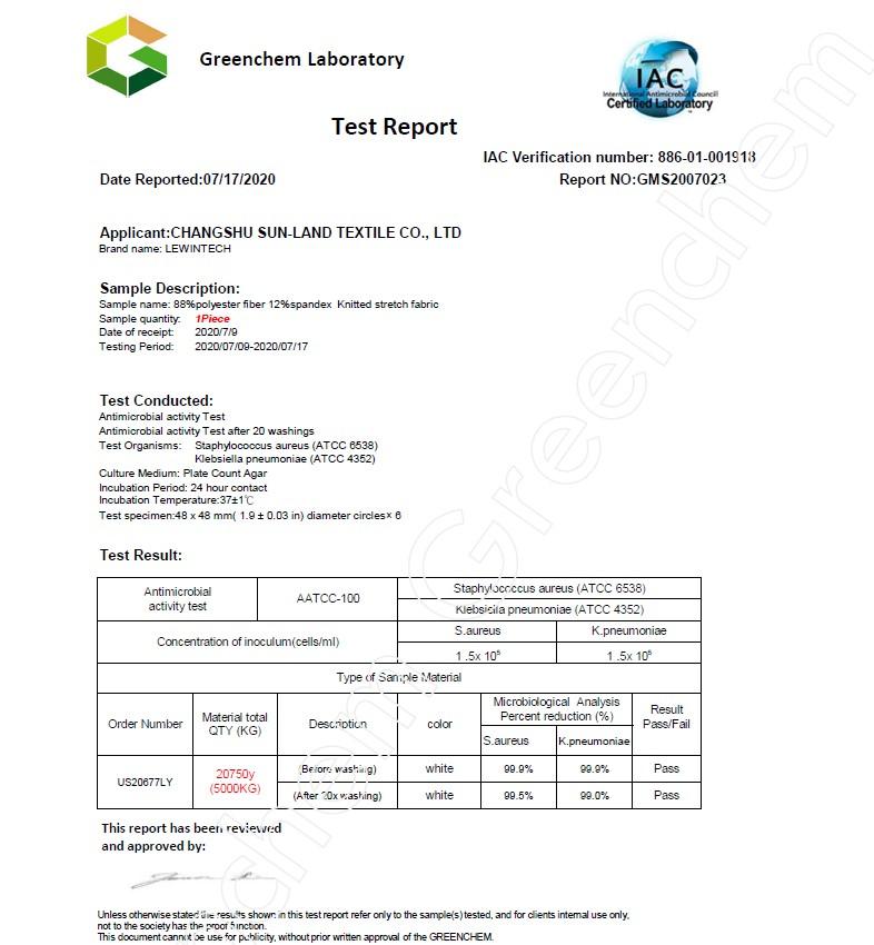 仙護盾Silvadur抗菌檢測認證
